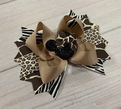 Animal Print Hair Bow - Safari Giraffe Zebra Leopard Animal Print Minnie Mouse Boutique Hair Bow