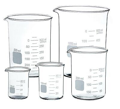 Glass Beaker Set of 5 Borosilicate Low Form - 50ml, 100ml, 250ml, 500ml, 1000ml