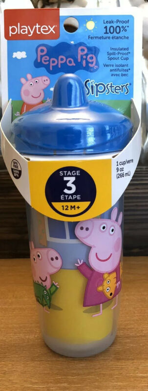 Playtex peppa pig sipsters stage 3 sippy cup 12 m+ leak proof