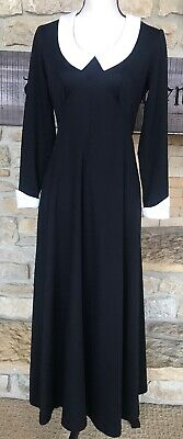 Womens 1960s-70s Era Helen Whiting Black Polyester Knit Dress Maxi Evening Gown