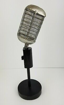 VINTAGE STYLE MICROPHONE & STAND ELVIS 1940s 50S 60s  THEATER PROP DECOR REPLICA