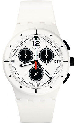 Swatch SUSW406 White Dial White Resin Strap Chronograph Men's Watch