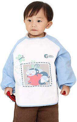 Cute Baby Bibs Waterproof Kids Toddler Long Sleeves Apron Feeding Eating Clothes