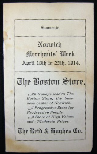 Norwich, Connecticut, Trolley Timetable Guide. 1914