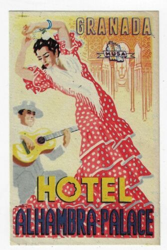 Hotel Alhambra Palace Granada Spain Flamenco Dancer Luggage Label