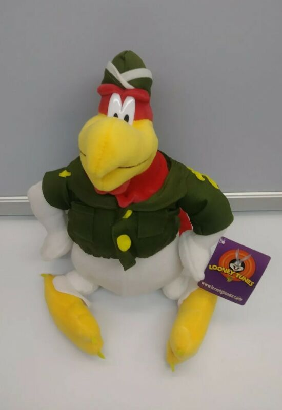 "WB Looney Tunes FOGHORN LEGHORN 11"" Rooster Plush Toy Military Collectible NWT"