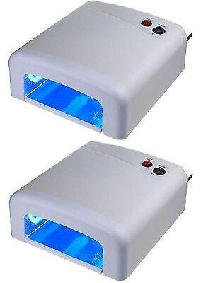 2 Stück UV Lichthärtungsgerät UV Lampe Nägel Lichthärtegrät inkl. 4 Röhren WEIß (Uv Nagel Lampe)