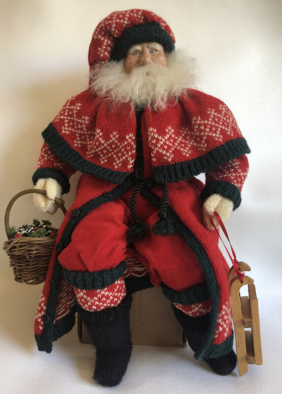 """Vintage Hand Made Christmas SANTA 14"""" Sitting signed by Artist w/Tag OOAK 1995"""