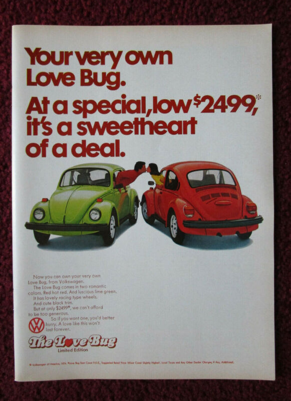 1974 Print Ad Volkswagen VW Bug Beetle Automobile ~ Your Very Own LOVE BUG Ltd