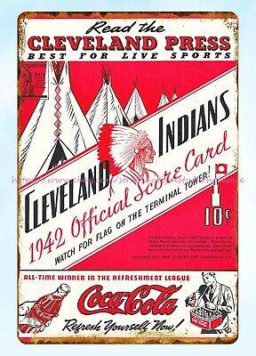 1942 baseball program cleveland indians metal tin sign wall restaurant pub