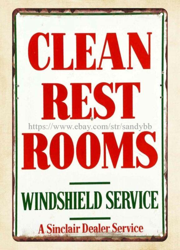 Sinclair Dealer Serviece Clean Rest Rooms metal tin sign home decor