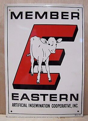 (Vtg Eastern Co-Op Member Sign tin metal farm cow feed seed store advertising nos)