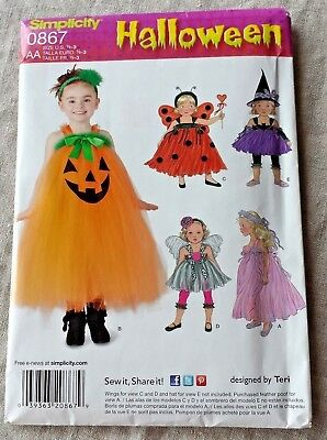 SIMPLICITY 0867 Toddlers Childs HALLOWEEN Costumes Sewing Pattern 1/2 to 3 Uncut - Halloween Costumes To Sew