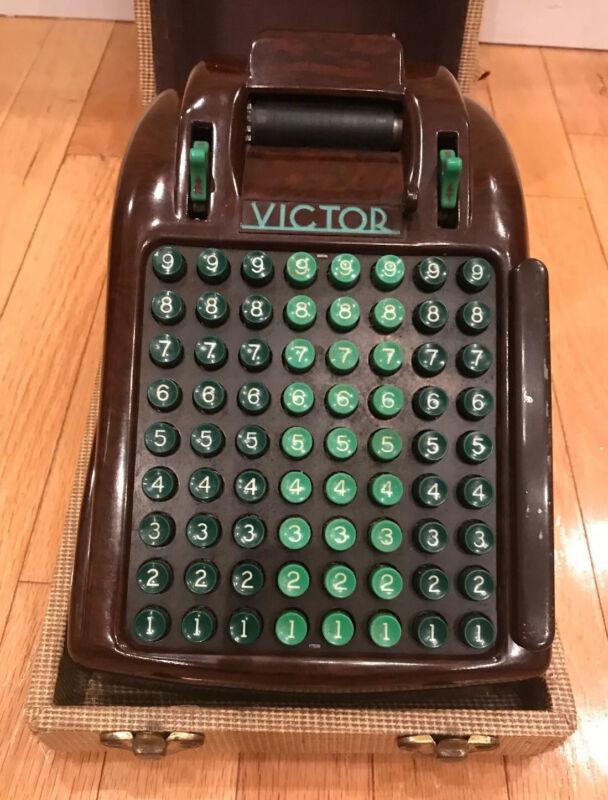 Vintage VICTOR Adding Machine 600 Series Art Deco Style Bakelite w/Cover
