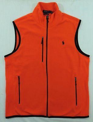 Slim Zip Fleece (Men Polo Ralph Lauren Pony Performance Fleece Zip Down Slim Vest Jacket S M L)