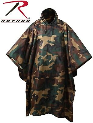 Woodland Camouflage Rip-Stop Tactical Military Hooded Rain Poncho (Camouflage Ripstop Nylon Poncho)