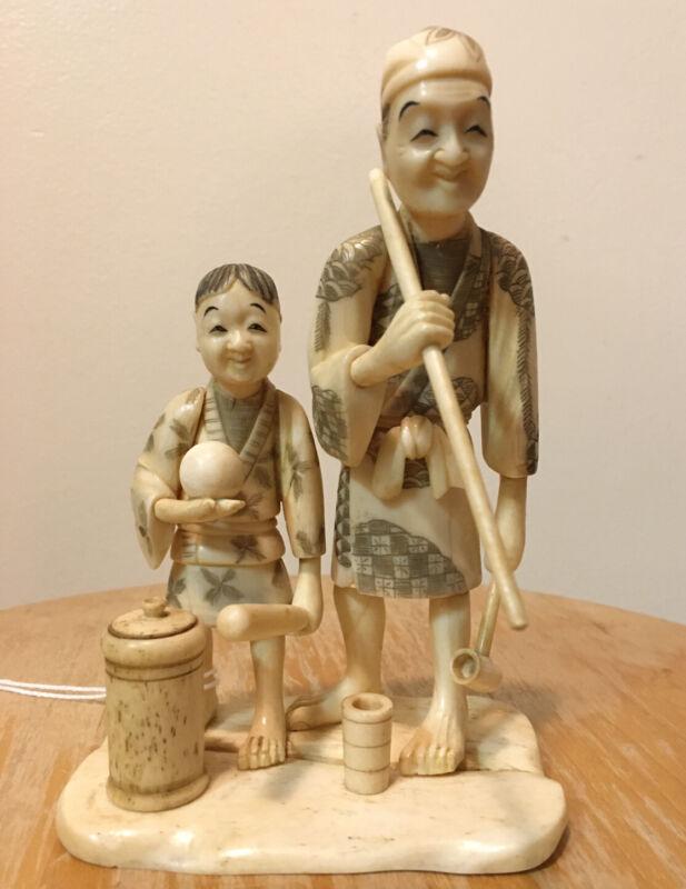 Antique Japanese Okimono - Carving Father Son Making Food Netsuke Late Meiji