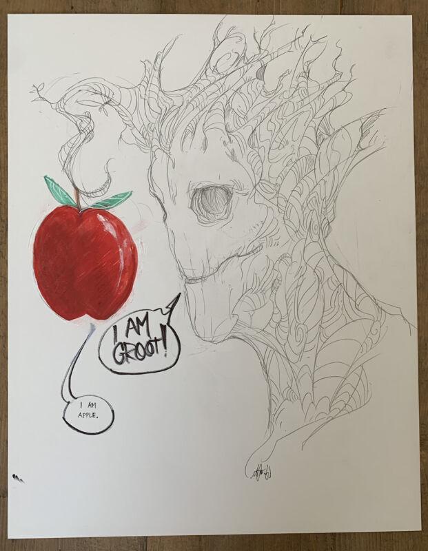 Mike del Mundo Groot 11x14 Original Art