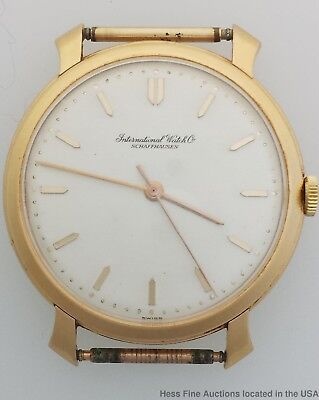 18k Gold IWC Sweep Second Rose Pink Gold Fancy Lug Mens Watch