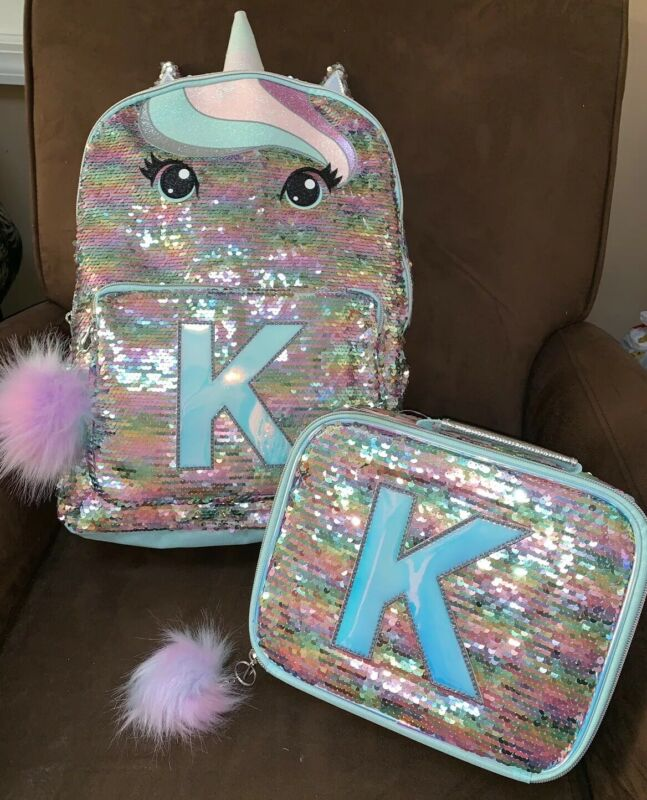 """JUSTICE PASTEL UNICORN BACKPACK/LUNCHBOX INITIAL """"K"""" IRIDESCENT SUPER CUTE!!!"""