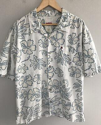Quiksilver Mens Beige W/Blue Floral Short Sleeve Button Up Shirt Sz XL