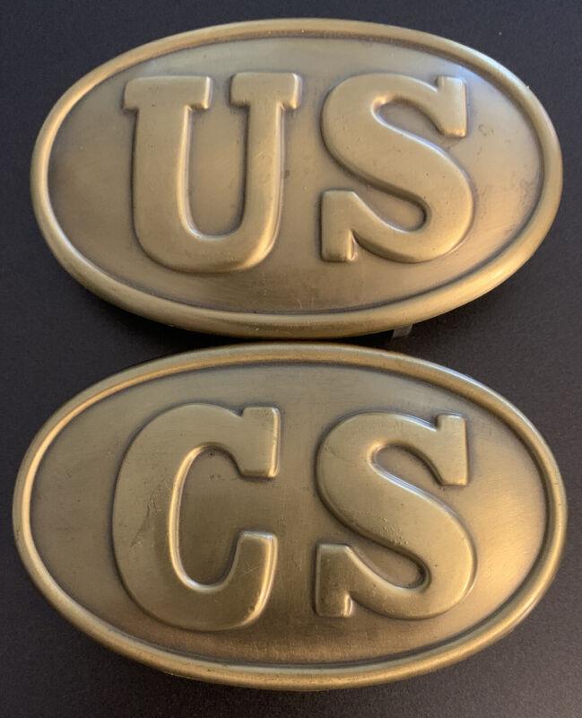 CIVIL WAR US & CS Confederate Waist Belt Buckle Plate Replica Both Buckles 1 $