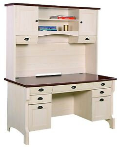 Chic NEW Quality Mahogany OFF White Office Computer Desk Hutch | eBay