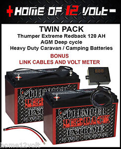 Twin Pack - Thumper Extreme 120 AH AGM Deep cycle Caravan camper trailer battery