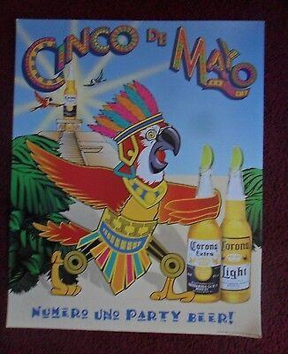 Beer Poster Corona Maya Mayan King & Pyramid Parrot Art - Cinco de Mayo (Cinco De Maya)