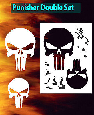 Punisher Skull Double Set Large Airbrush Stencil Spray Vision Template air brush