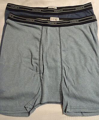 Hanes XL 40-42 2 Pair Mens Boxer Brief Underwear NWOT Cotton Polyester Blue