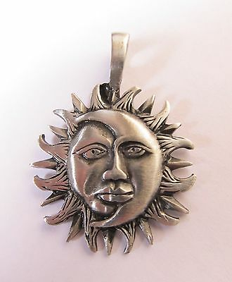 NEW Pewter Celestial Sun Moon Face Pendant FREE -