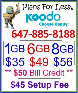 Koodo 6Gb 8Gb LTE data plan UNLIMITED talk text + $50 bonus