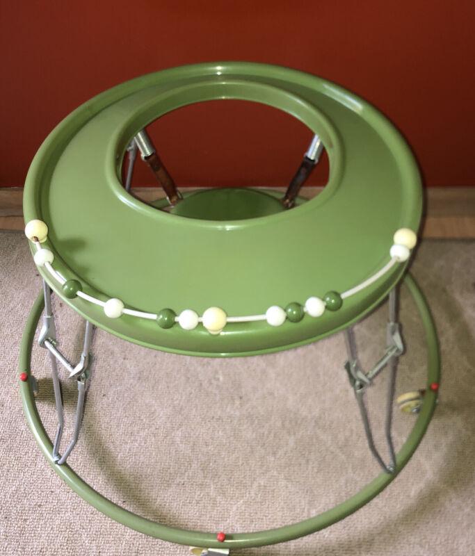 Vintage Folding Avocado GREEN Child Baby Walker Bouncy Seat Round Chrome RETRO