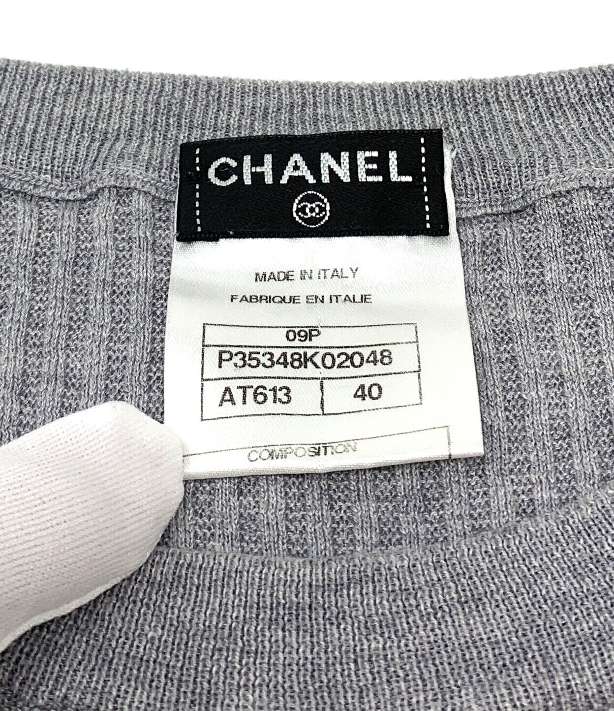 Authentique chanel 09p coco mark logo longueur genou #40 coton gris rank ab