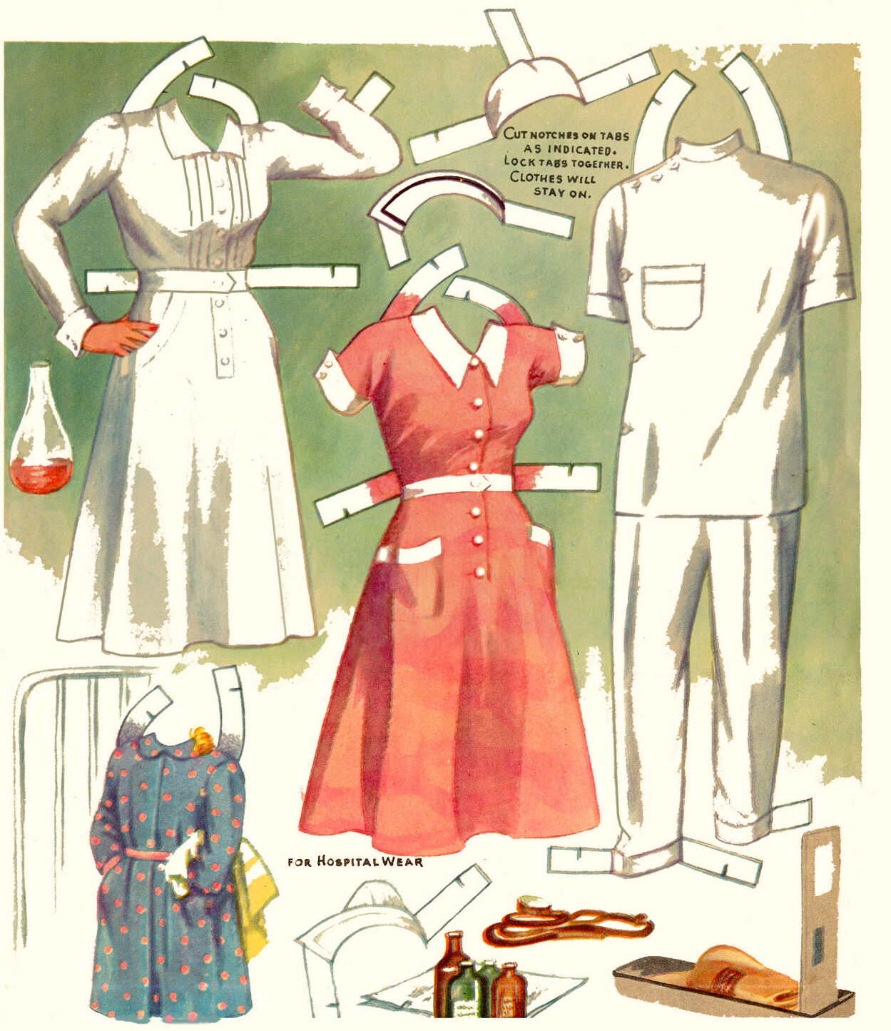 VINTAGE UNCUT 1940S NURSE & DOCTOR PAPER DOLL ~SAALFIELD~ORG SZ~LASER REPRODUCTI