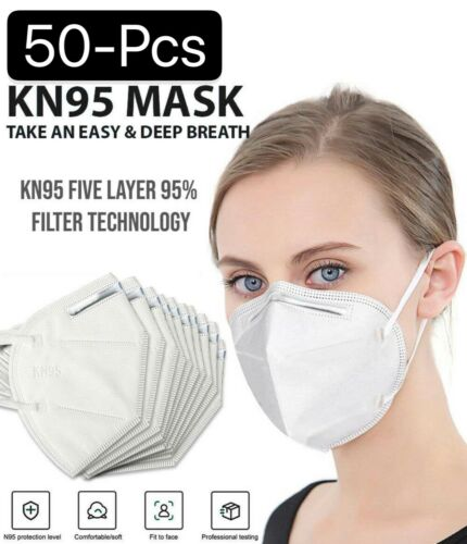 50 PCS 5 Layers Face Mask Mouth & Nose Protector Respirator Masks USA Seller