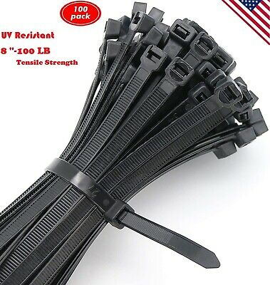 8 In Black Nylon Cable Wire Zip Ties Heavy Duty With 100 Lb Tensile Uv Resistant