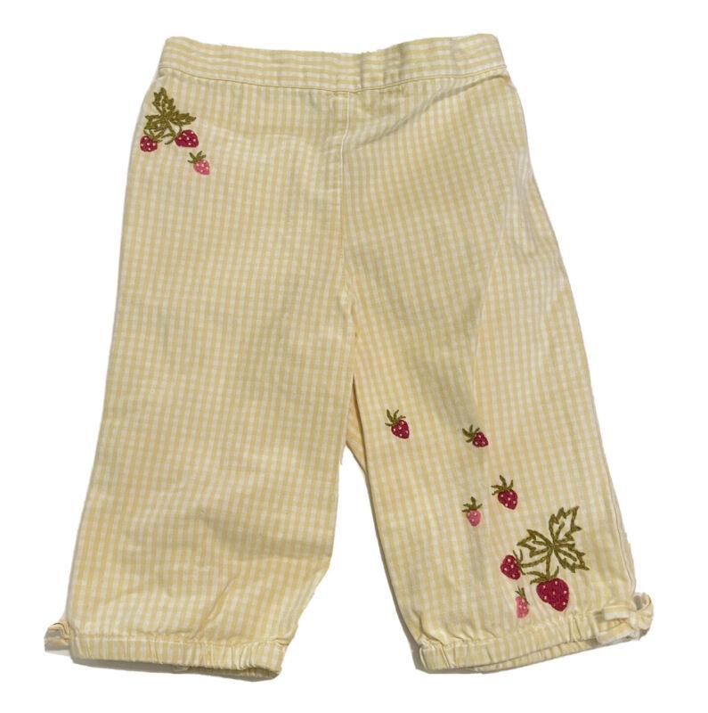 Vintage Gymboree Baby Girl 18-24 Mo Yellow Pants Checks Strawberry Embroidered