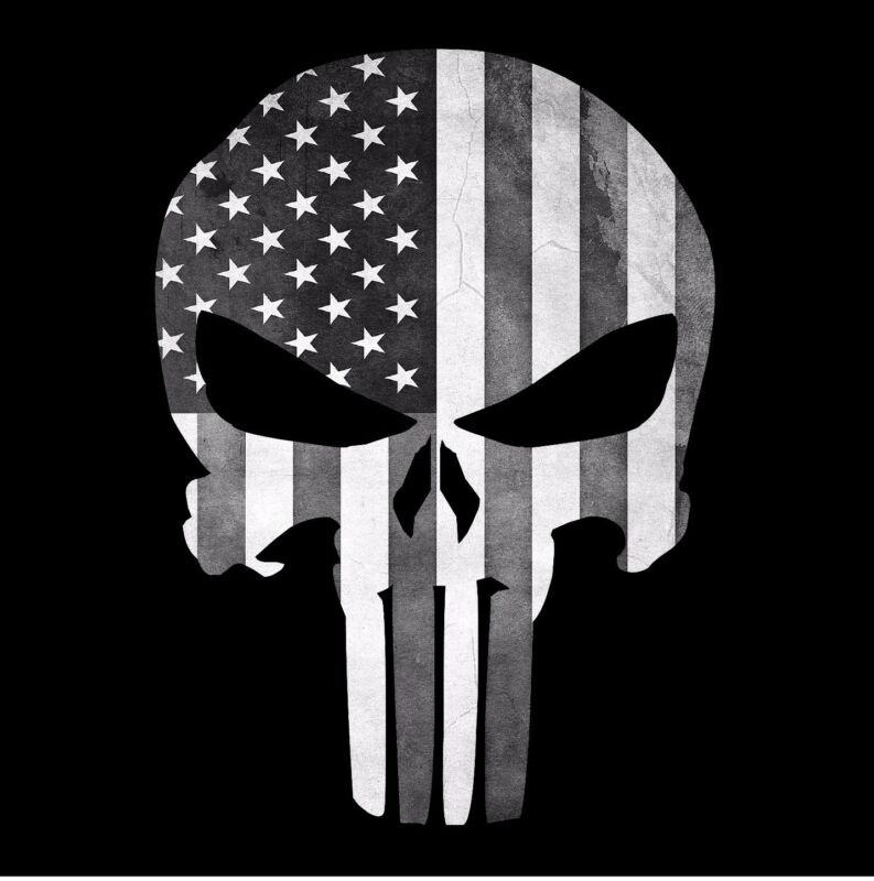 Punisher Skull American Flag Decal Sticker Graphic (black and white) - 3 Sizes