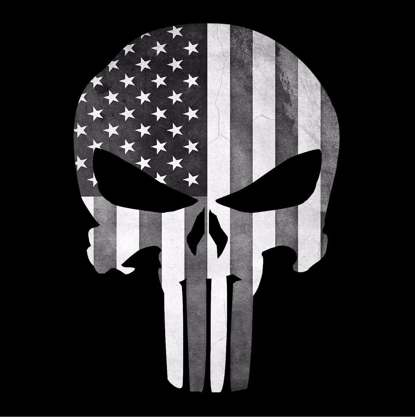 Punisher Skull American Flag Black And White Decal