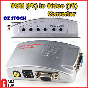 Computer VGA  to TV Out Adapter RCA Video / S-Video Converter Conversion