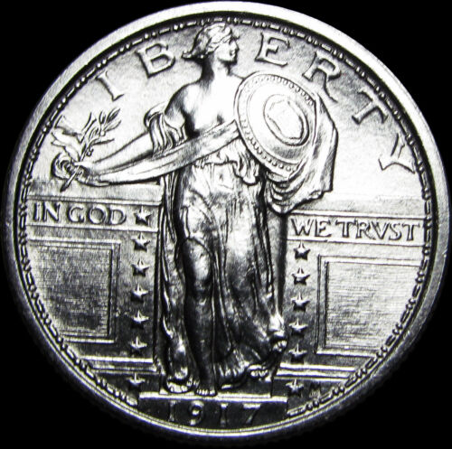 1917 Type 1 Standing Liberty Quarter Coin  ---- GEM BU++ FH Full Head ---- #B977