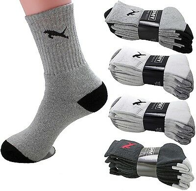 New Lot 3 6 12 Pairs Mens Womens Crew Sport Athletic Socks Cotton Tiger Solid