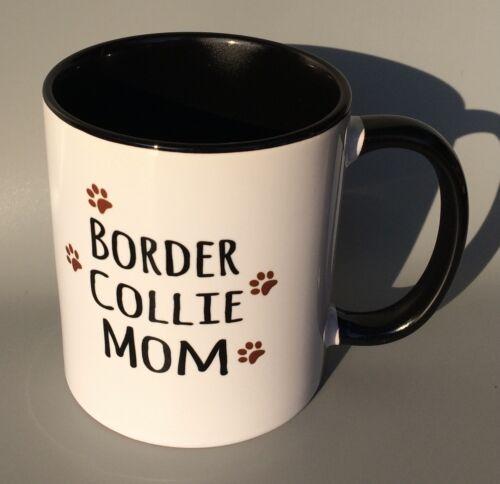BORDER COLLIE MOM Coffee Mug Cup w/ Paw Prints, Printed On Both Sides Of Mug