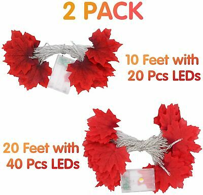 2Pcs Thanksgiving Halloween Fall Decoration LED Maple Leaf Garland String Lights