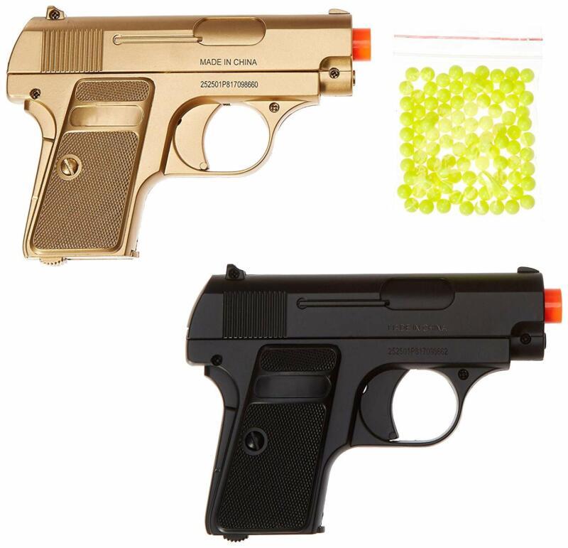BBTac Airsoft Spy Handgun - Twin Pack Pocket Pistol Gun with Storage Case (Gold