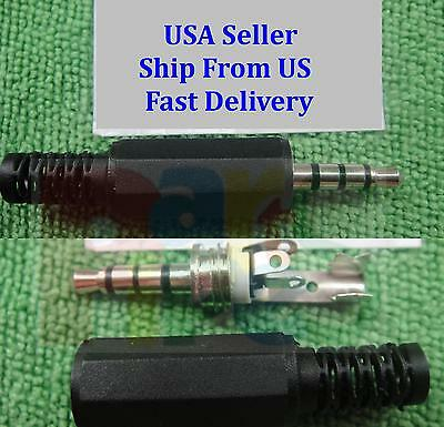 5X Silver 4 Pole 3.5mm Male Repair headphone Jack Plug  Audio Soldering & Spring