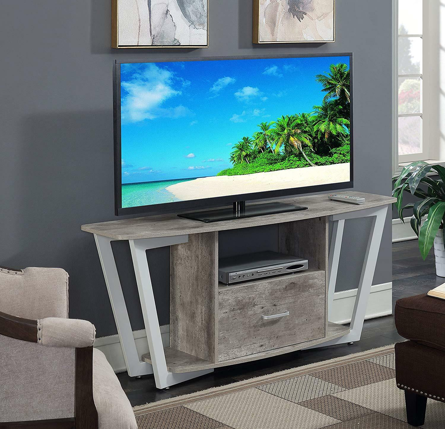 """Industrial TV Stand Media Console TVs up to 65"""" Large Drawer"""