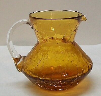 Amber Crackle Glass Small Pitcher Creamer with Clear Applied Handle Vintage